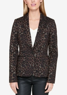 Tommy Hilfiger Leopard-Print One-Button Blazer, Created for Macy's