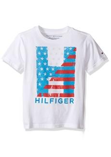Tommy Hilfiger Denim Men's Little Boys' Short Sleeve Crew Neck Flag Graphic T-Shirt