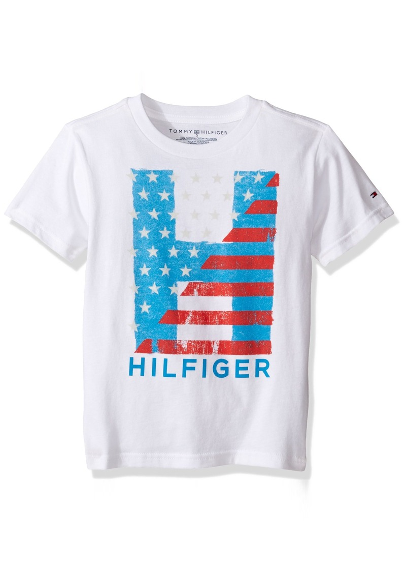 61cd5b42 Tommy Hilfiger Denim Men's Little Boys' Short Sleeve Crew Neck Flag Graphic  T-Shirt
