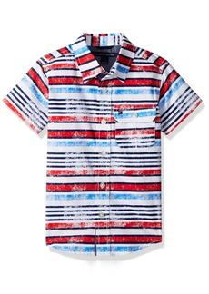 Tommy Hilfiger Little Boys' Printed Stripe Short Sleeve Shirt
