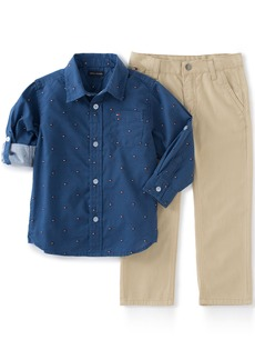 Tommy Hilfiger Little Boys Roll up Sleeves Shirt with Twill Pants Set