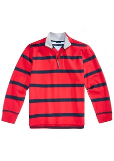 Tommy Hilfiger Little Boys Rugby Striped Quarter-Zip Cotton Pullover