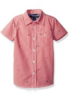Tommy Hilfiger Little Boys' Short Sleeve Gingham Woven Shirt