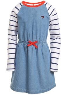 Tommy Hilfiger Little Girls Cotton Stripe-Sleeve Denim Dress