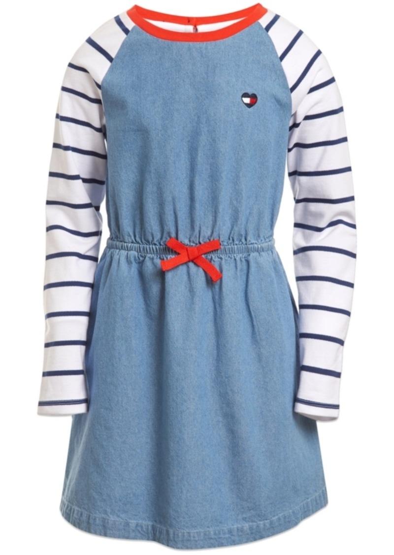 Tommy Hilfiger Toddler Girls Cotton Stripe-Sleeve Denim Dress