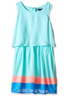 Tommy Hilfiger Little Girls' Flat Chiffon Crop Top Border Dress