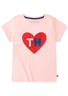 Tommy Hilfiger Little Girls Flip Sequin Heart T-Shirt