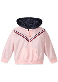 Tommy Hilfiger Toddler Girls Hooded Metallic Jacket With Faux-Fur Trim