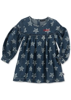 Tommy Hilfiger Little Girls Long-Sleeve Star-Print Denim Cotton Dress