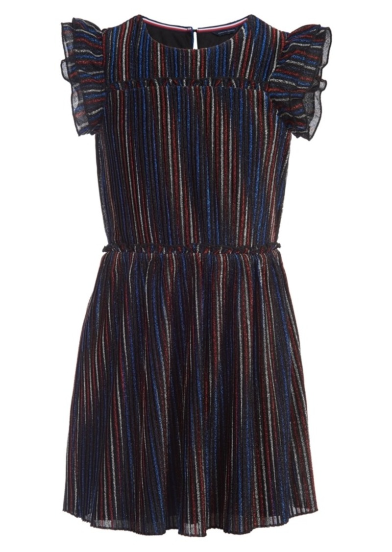 Tommy Hilfiger Little Girls Metallic Crinkle Fit & Flare Dress
