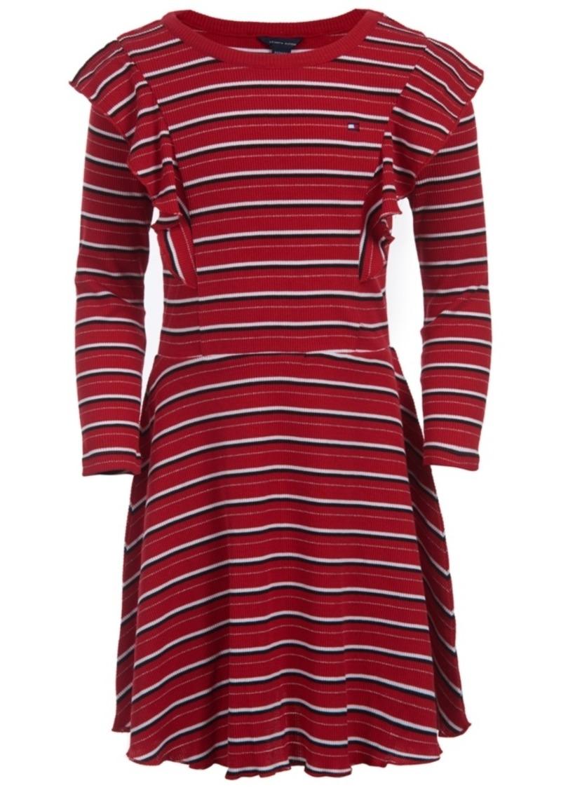Tommy Hilfiger Little Girls Striped Ruffled Dress