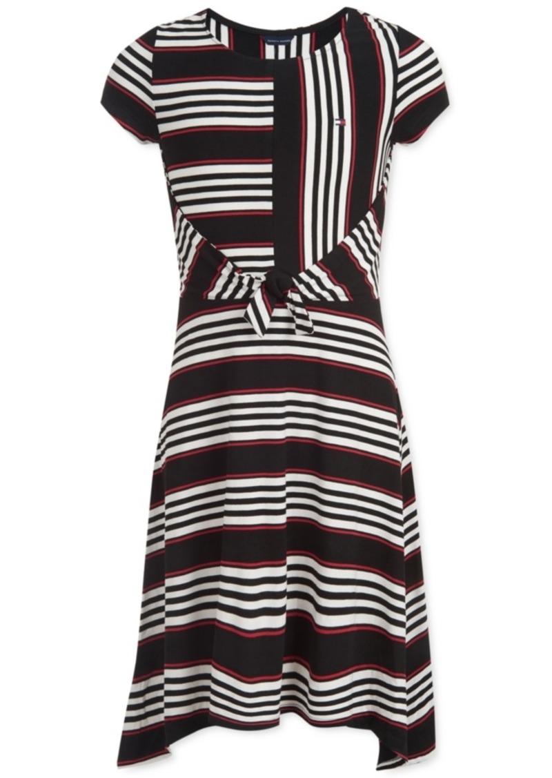 Tommy Hilfiger Little Girls Striped Tie-Front Dress