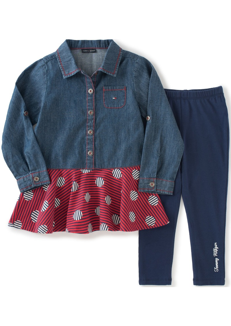 Tommy Hilfiger Little Girls' Toddler Denim Tunic with Leggings Set