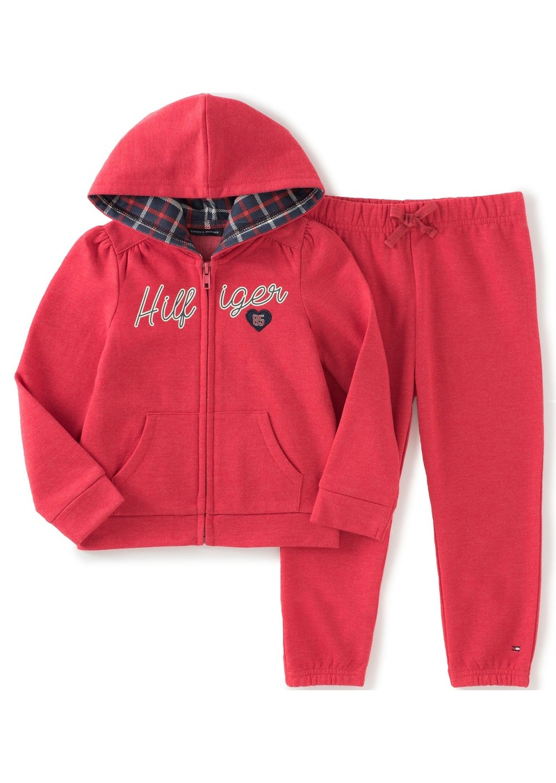 Tommy Hilfiger Little Girls' Toddler Fleece Hooded Jacket and Jog Pant Set
