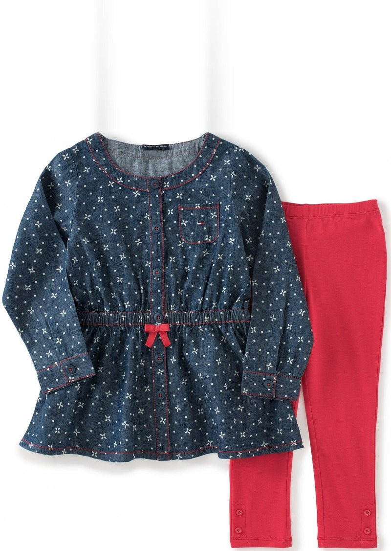 Tommy Hilfiger Little Girls' Toddler Printed Denim Tunic with Solid Leggings
