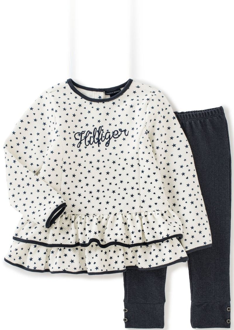 Tommy Hilfiger Little Girls' Toddler Quilted Print Tunic with Solid Leggings