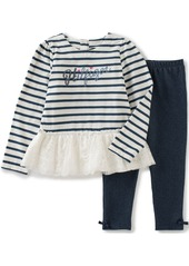 Tommy Hilfiger Little Girls' Toddler Striped Tunic with Lace and Solid Leggings
