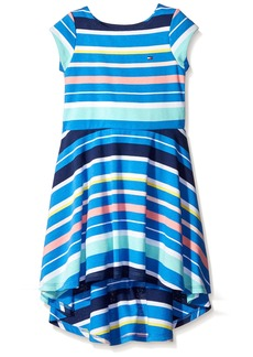 Tommy Hilfiger Little Girls' Yarn Dye Variegated High-Low Dress PLC Blue
