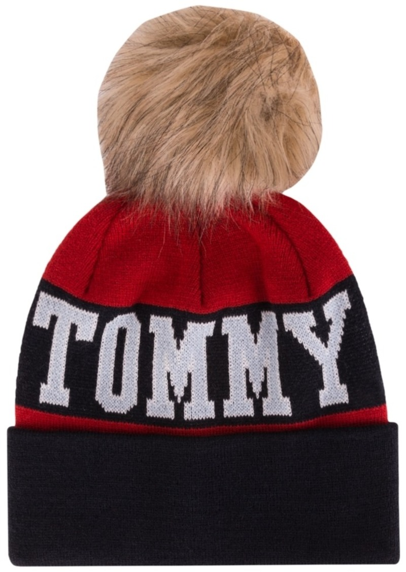 Tommy Hilfiger Logo Beanie with Faux Fur Pom