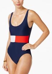 Tommy Hilfiger Logo-Print One-Piece Swimsuit Women's Swimsuit