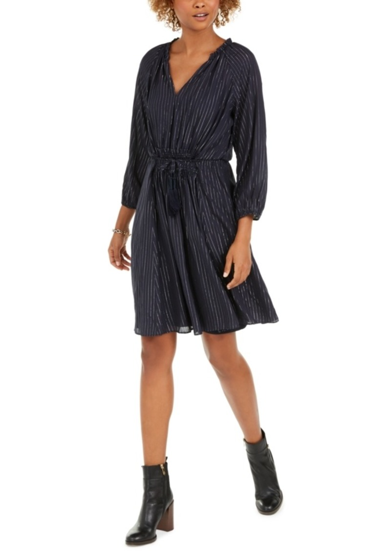 Tommy Hilfiger Lurex-Stripe Tassel-Tie Dress