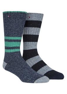 Tommy Hilfiger Men's 2-Pk. Striped Boot Socks