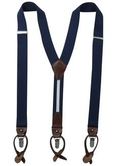 Tommy Hilfiger Men's 32mm Stretch Solid Suspender With Convertible Clip and Button End and Back Strap