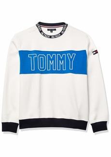 Tommy Hilfiger Men's Adaptive Crew Sweatshirt with Velcro Shoulder Closure