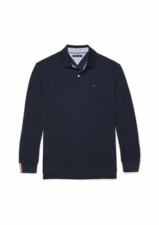 Tommy Hilfiger Men's Adaptive Long Sleeve Polo Shirt with Magnetic Buttons Classic Fit Sky Captain-PT LG