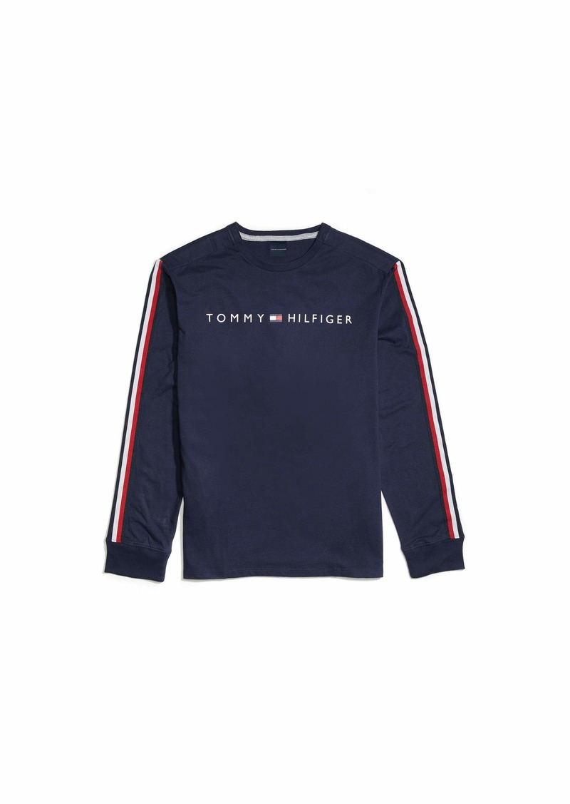 Tommy Hilfiger Men's Adaptive Long Sleeve T Shirt with Velcro Brand Closure at Shoulders Navy Blazer-PT MD