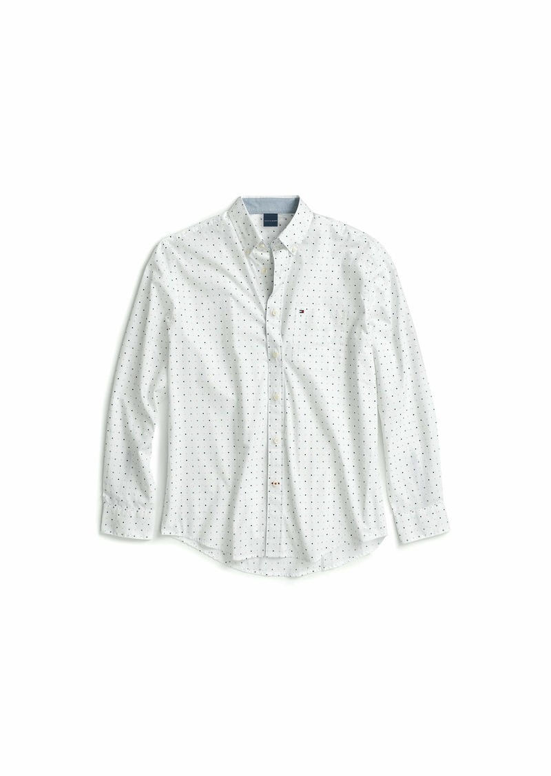 Tommy Hilfiger Men's Adaptive Magnetic Long Sleeve Button Down Shirt Custom Fit Blue Dot