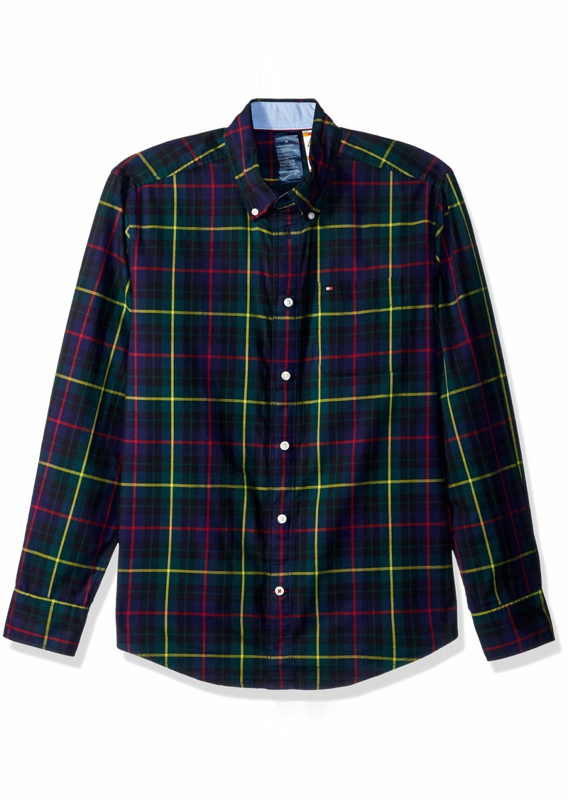 Tommy Hilfiger Men's Adaptive Magnetic Long Sleeve Button Down Shirt Custom Fit Evening Blue