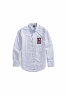 Tommy Hilfiger Men's Adaptive Magnetic Long Sleeve Button Down Shirt Custom Fit Hilfiger Blue