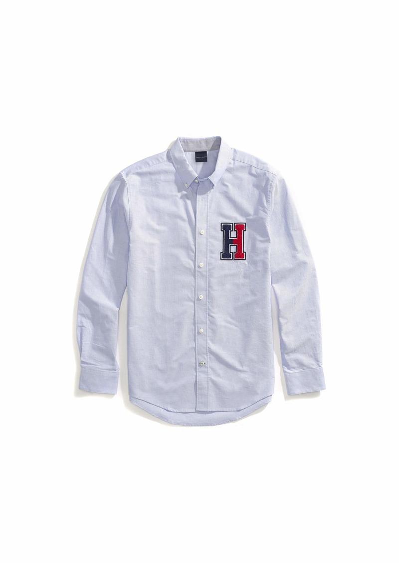 Tommy Hilfiger Men's Adaptive Magnetic Long Sleeve Button Down Shirt Custom Fit Hilfiger Blue