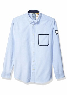 Tommy Hilfiger Men's Adaptive Magnetic Long Sleeve Button Down Shirt Custom Fit Tommy Blue
