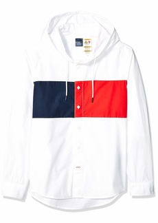 Tommy Hilfiger Men's Adaptive Magnetic Long Sleeve Button Shirt Regular Fit with Hood  X Large