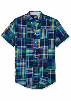 Tommy Hilfiger Men's Adaptive Magnetic Short Sleeve Button Shirt Custom Fit Multi