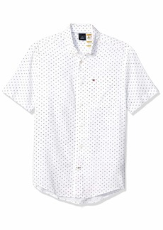 Tommy Hilfiger Men's Adaptive Magnetic Short Sleeve Button Shirt Custom Fit Bright White