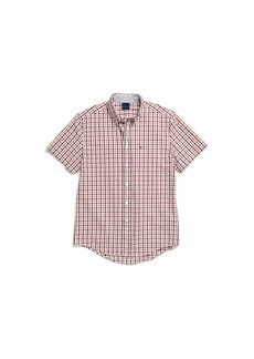 Tommy Hilfiger Men's Adaptive Magnetic Short Sleeve Button Shirt Custom Fit chinese Red XXL