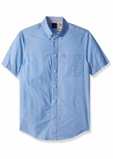 Tommy Hilfiger Men's Adaptive Magnetic Short Sleeve Button Shirt Custom Fit collection Blue