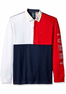Tommy Hilfiger Men's Adaptive Rugby Shirt with Magnetic Buttons Regular Fit Navy Blazer/Multi XL