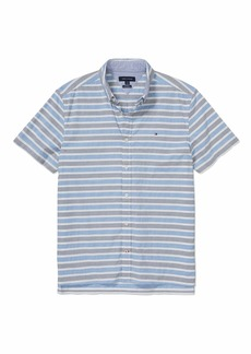 Tommy Hilfiger Men's Adaptive Seated Custom Fit Button Down Shirt with Velcro Brand Closure  XXL