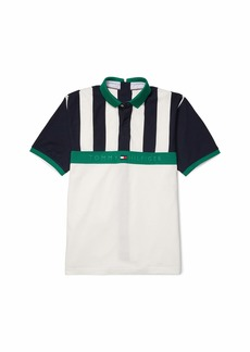 Tommy Hilfiger Men's Adaptive Seated Fit Polo Shirt with Velcro Brand Closure Sky Captain-PT/Multi XL