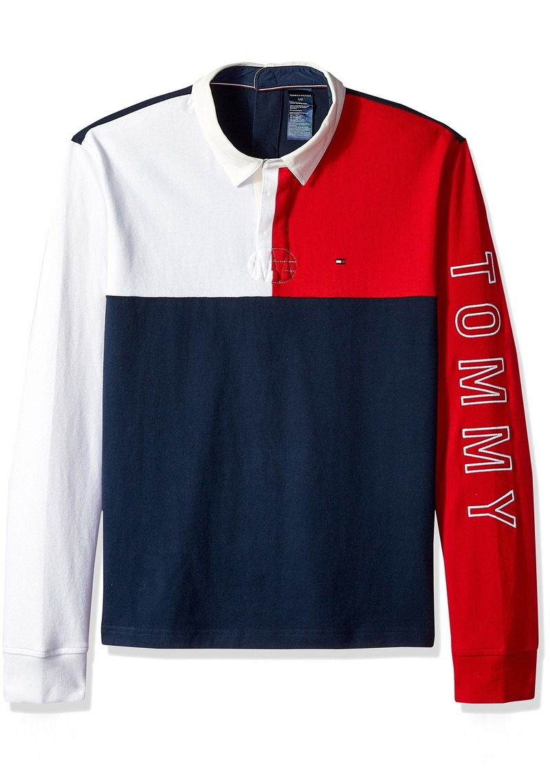 Tommy Hilfiger Men's Adaptive Seated Rugby Shirt with Velcro Brand Back Navy Blazer/Multi XXL