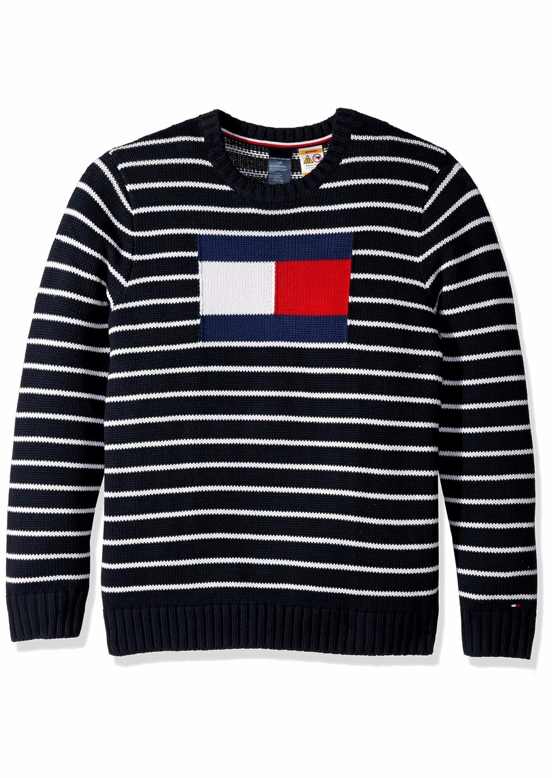 Tommy Hilfiger Men's Adaptive Sweater with Magnetic Buttons at Shoulders Sky Captain/Multi MD