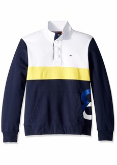 Tommy Hilfiger Men's Adaptive Sweatshirt with Magnetic Buttons and Mock Neck Bright White/Medium LG