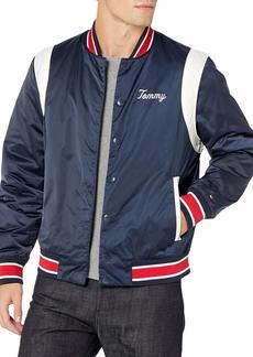 Tommy Hilfiger Men's Adaptive Varsity Jacket with Magnetic Buttons Navy blazer