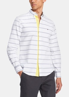 Tommy Hilfiger Men's Alvin Custom-Fit Stripe Contrast-Placket Shirt