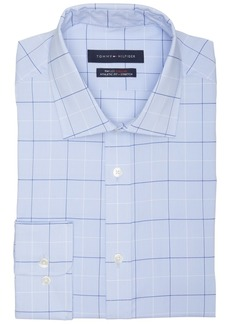 Tommy Hilfiger Men's Athletic Fit Non-Iron Stretch Performance Windowpane Dress Shirt