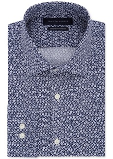 Tommy Hilfiger Men's Athletic Fit Performance Stretch Navy Floral Print Dress Shirt